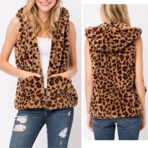 NEW Fuzzy Leopard hooded vest with pockets
